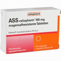 Abbildung von Ass- Ratiopharm 100 Mg Magensaftresistente Tablette Tabletten 100 Stück
