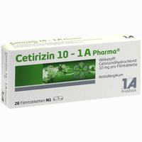 Cetirizin 10 - 1 A Pharma  Filmtabletten 20 Stück