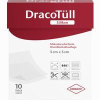 Dracotüll Silikon 5x5 Cm Silikonbeschichtete Wundkontaktauflage Verband 10 Stück