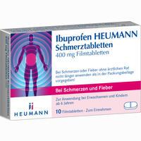 Abbildung von Ibuprofen Heumann Schmerztabletten 400 Mg 10 Stück