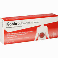 Abbildung von Kohle Dr. Mann 250mg Tabletten  20 Stück