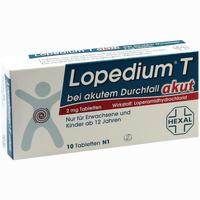 Abbildung von Lopedium T Akut bei Akutem Durchfall Tabletten 10 Stück