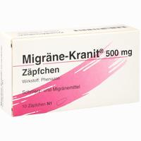 Abbildung von Migräne- Kranit 500mg Zäpfchen  10 Stück
