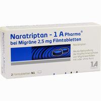 Abbildung von Naratriptan - 1 A Pharma bei Migräne 2.5mg Filmtabletten  2 Stück