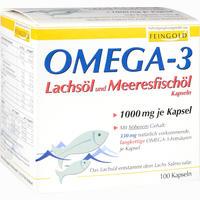 Abbildung von Omega- 3 Lachsöl und Meeresfischöl Kapseln  100 Stück