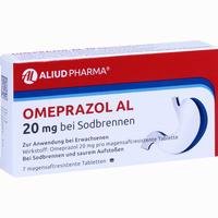 Abbildung von Omeprazol Al 20mg bei Sodbrennen Tabletten 7 Stück