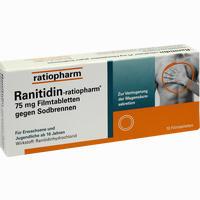 Ranitidin-ratiopharm 75mg Filmtabletten Gegen Sodbrennen  10 Stück