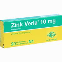 Zink Verla 10mg  Filmtabletten 20 Stück