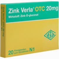 Abbildung von Zink Verla Otc 20mg Filmtabletten 20 Stück