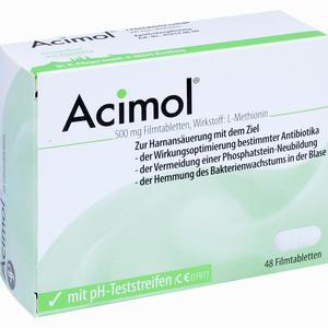 Abbildung von Acimol mit Ph- Teststreifen Filmtabletten 48 Stück