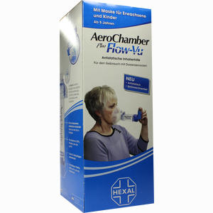 Abbildung von Aerochamber Hexal mit Maske für Erwachsene 1 Stück