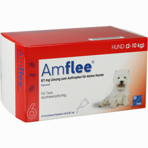 Abbildung von Amflee 67mg Spot- On für Kleine Hunde 2- 10kg Lösung  6 Stück