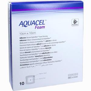 Abbildung von Aquacel Foam Adhäsiv 10x10cm Verband Emra-med 10 Stück