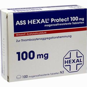Abbildung von Ass Hexal Protect 100mg Magensaftresistente Tab Tabletten 100 Stück