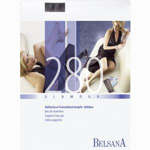 Abbildung von Belsana 280den Glamour Schenkelstrümpfe mit Spitzenhaftband Gr. S Schwarz Lang 2 Stück
