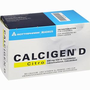 Abbildung von Calcigen D Citro 600 Mg/400 I.e. Kautabletten  100 Stück