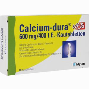 Abbildung von Calcium- Dura Vit D3 600mg/400 I.e. Kautabletten 20 Stück