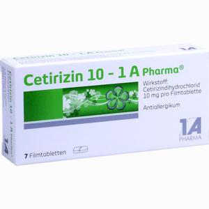 Abbildung von Cetirizin 10 - 1 A Pharma Filmtabletten 7 Stück