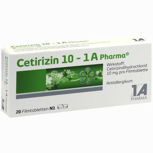 Abbildung von Cetirizin 10 - 1 A Pharma Filmtabletten 20 Stück