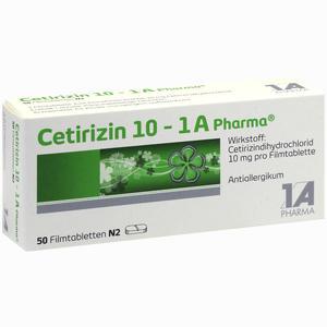 Abbildung von Cetirizin 10 - 1 A Pharma Filmtabletten 50 Stück