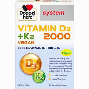 Abbildung von Doppelherz Vitamin D3 2000 + K2 System Tabletten 60 Stück