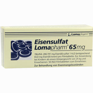 Abbildung von Eisensulfat Lomapharm 65mg Tabletten 50 Stück