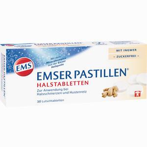 Abbildung von Emser Pastillen Halstabletten mit Ingwer zuckerfrei Lutschtabletten 30 Stück