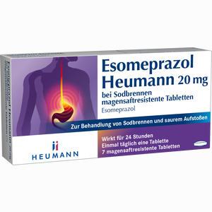 Abbildung von Esomeprazol Heumann 20mg bei Sodbrennen Tabletten 7 Stück