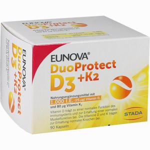 Abbildung von Eunova Duoprotect D3+k2 1.000 I.e./80µg Kapseln  90 Stück
