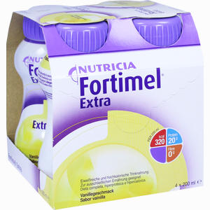 Abbildung von Fortimel Extra Vanillegeschmack Fluid Pfrimmer nutricia 4 x 200 ml