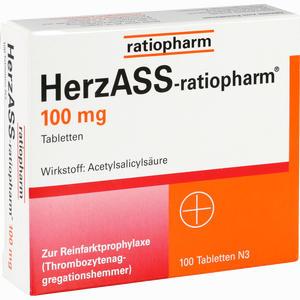 Abbildung von Herzass- Ratiopharm 100 Mg Tabletten 100 Stück
