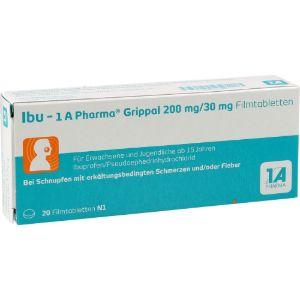 Abbildung von Ibu - 1 A Pharma Grippal 200 Mg/30 Mg Filmtabletten  20 Stück