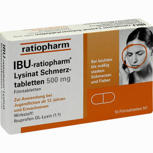 Abbildung von Ibu- Ratiopharm Lysinat Schmerztabletten 500mg Filmtabletten 10 Stück