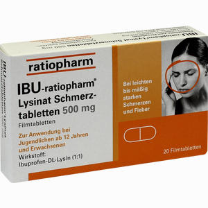 Abbildung von Ibu- Ratiopharm Lysinat Schmerztabletten 500mg Filmtabletten 20 Stück
