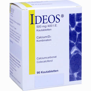 Abbildung von Ideos 500mg/400 I. E. Kautabletten Beragena arzneimittel 90 Stück