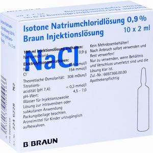 Abbildung von Kochsalz 0.9% Isoton Ampullen B. braun 10 x 2 ml