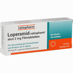 Abbildung von Loperamid- Ratiopharm Akut 2mg Filmtabletten  10 Stück