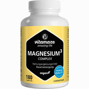 Abbildung von Magnesium 350mg Komplex Citrat Oxid Carbonat Vitam Tabletten 180 Stück