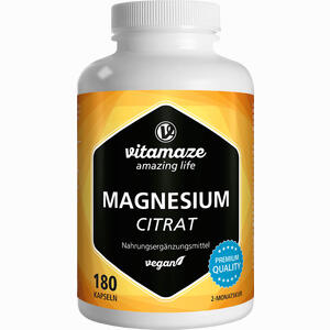 Abbildung von Magnesiumcitrat 360mg Vegan Kapseln 180 Stück