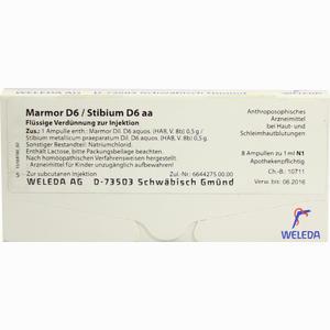 Abbildung von Marmor D6/stibium D6 Aa Ampullen  8 x 1 ml