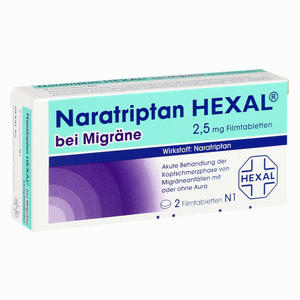Abbildung von Naratriptan Hexal bei Migräne 2.5mg Filmtabletten 2 Stück