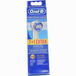 Abbildung von Oral- B Aufsteckbürsten Precision Clean 7er + 1 Zahnbürste 8 Stück