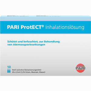 Abbildung von Pari Protect Inhalationslösung mit Ectoin 10x2.5ml Ampullen 10 x 2.5 ml