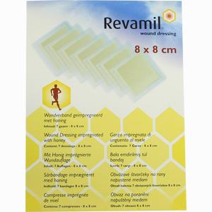 Abbildung von Revamil Wundkompresse 8x8cm mit Medizinischem Honig Verband 7 Stück