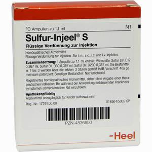 Abbildung von Sulfur- Injeel Ampullen  10 Stück