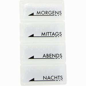 Abbildung von Tablettendose Morgens/Mittags/Abends/Nachts mit Blindenschrift Weiß Transparent 1 Stück