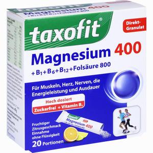 Abbildung von Taxofit Magnesium 400+ B1 + B6 + B12 + Folsäure 800 Granulat  20 Stück