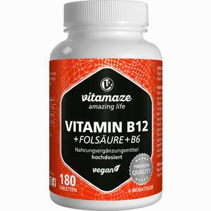 Abbildung von Vispura Vitamin B12 1000 Mcg Hochdosiert + B9 + B6 Tabletten 180 Stück