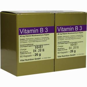 Abbildung von Vitamin B3 Kapseln Vital nutrition gmbh 120 Stück