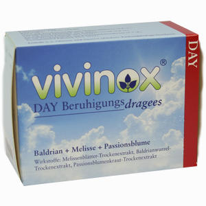 Abbildung von Vivinox Day Beruhigungsdragees mit Baldrian, Melisse und Passionsblume Tabletten 100 Stück